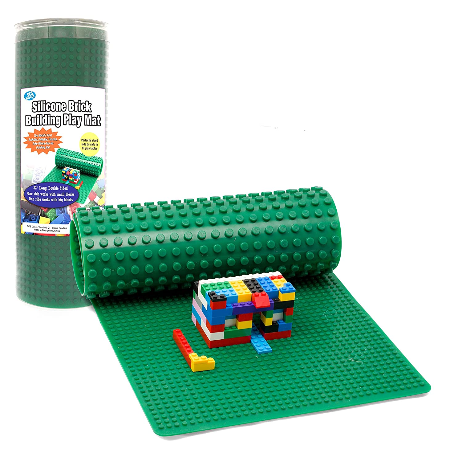 Brick Building Play Mat by SCS- Rollable, Two Sided Silicone Mat