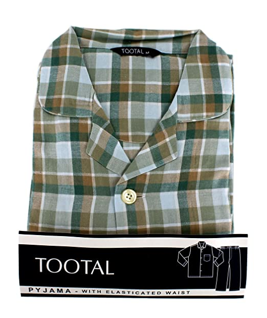 Tootal Sage Herringbone Check cálido mango pijama verde verde oscuro XL