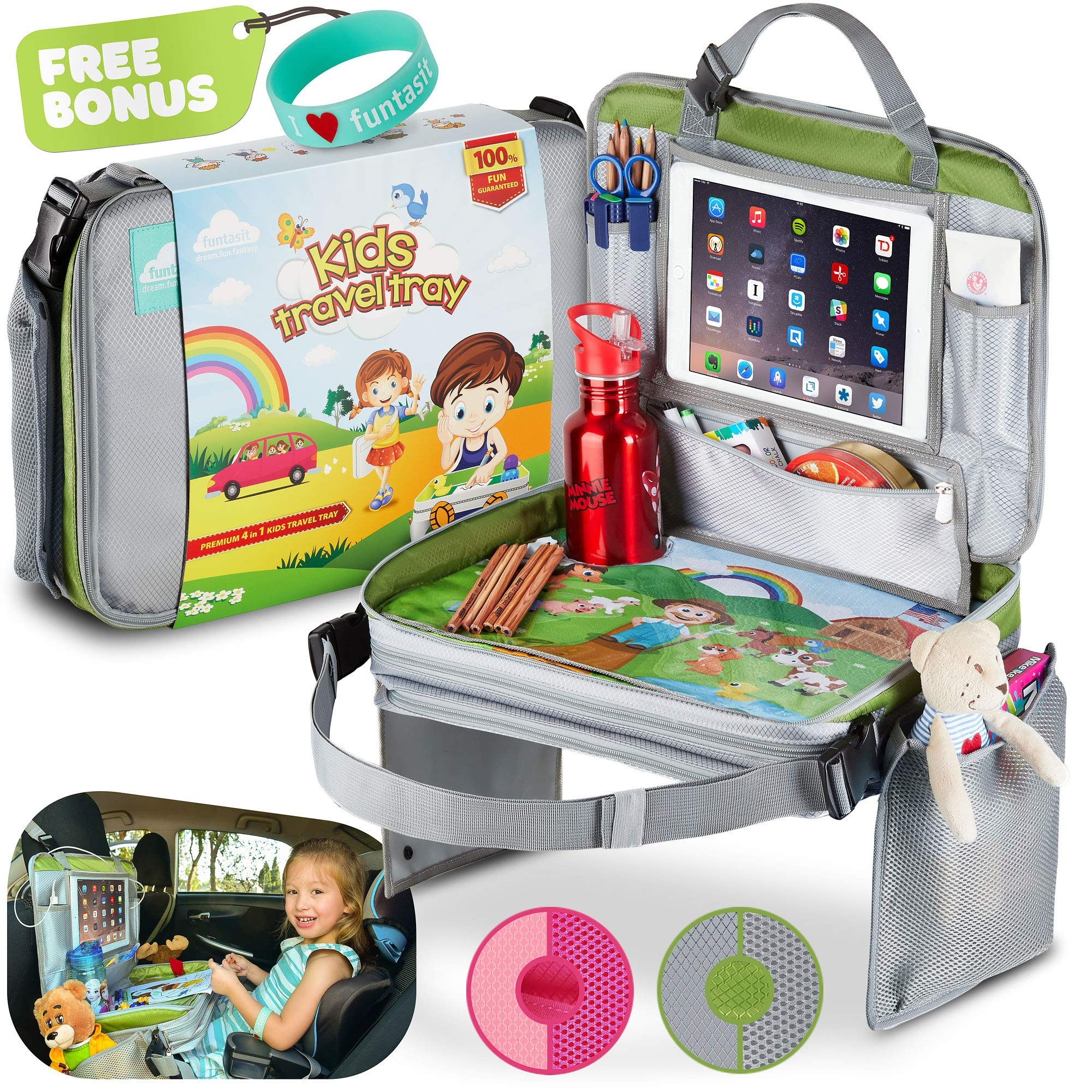 funtasit Kids Travel Tray All-in-One Carry Bag, Play Table, Storage and Tablet Holder with Detachable Back - Side Pockets - Sturdy, Leakproof, Easy Clean. Gray/Silver/Green. Bonus Bracelet by funtasit