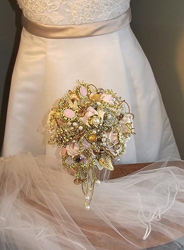 Amazon Com Brooch Bouquet Rosegold Wedding Bouquet Blush Pink