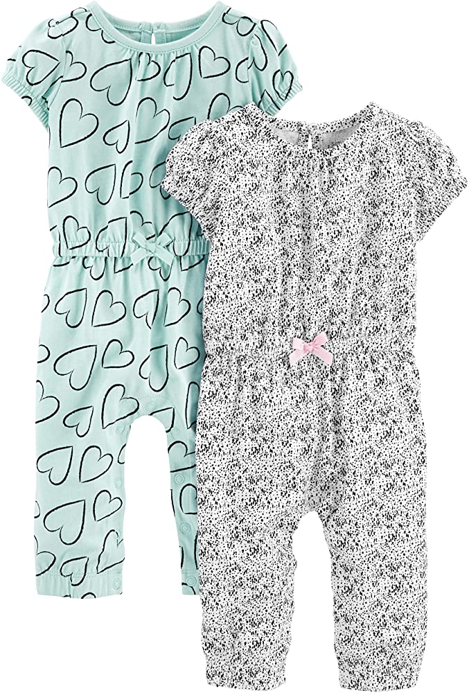 Pacco da 2 Simple Joys by Carters 2-Pack Short-Sleeve And Sleeveless Dress Sets Bambina