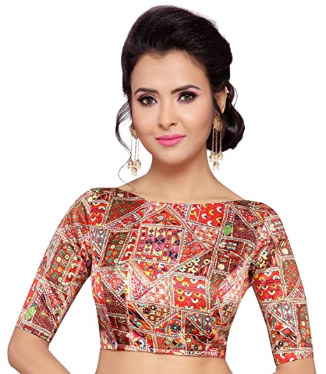 a9ff62178a407b Studio Shringaar Women's Poly Satin Silk Traditional Print Saree Blouse  with Boat Neck and Elbow Length