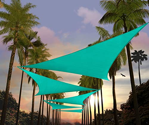 Amgo 12' x 12' x 17' Turquoise Sun Shade Sail Right Triangle Canopy Awning Shelter Fabric Screen