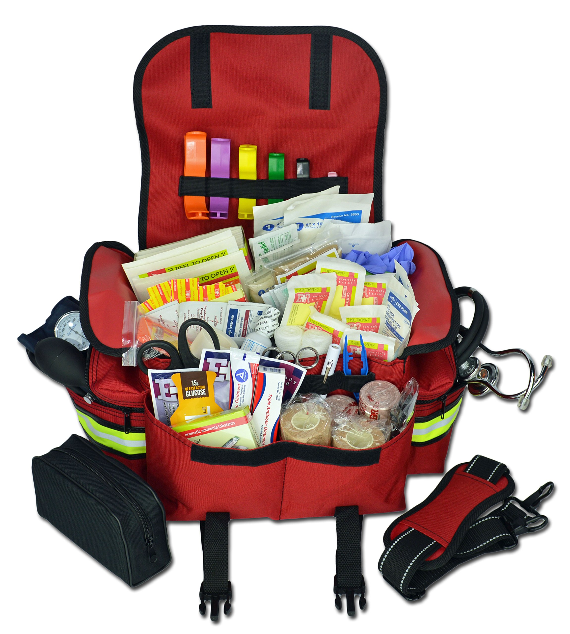 Lightning X Small First Responder EMT EMS Trauma Bag Stocked First Aid Fill Kit B (Red) by Lightning X Products