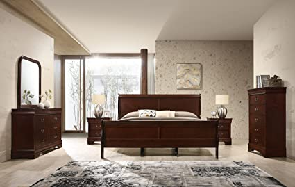 Isola Louis Philippe Style Sleigh Bedroom Set, King Bed, Dresser, Mirror, 2