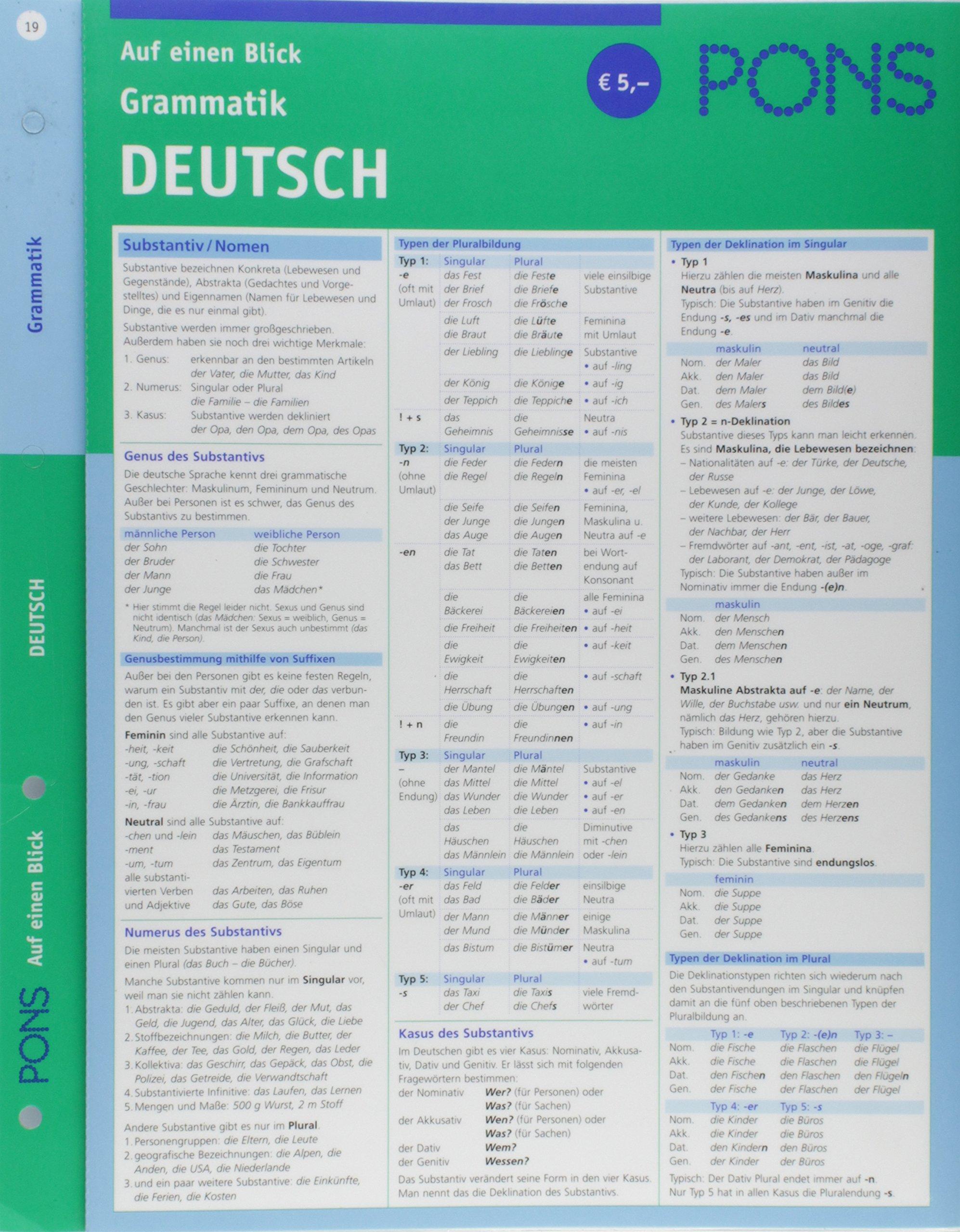 PONS Grammatik auf einen Blick Deutsch: kompakte Übersicht, Grammatikregeln nachschlagen