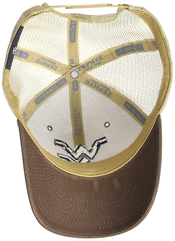 Adjustable Brown NCAA Zephyr West Virginia Mountaineers Mens Mesa Waxed Cotton Trucker Hat