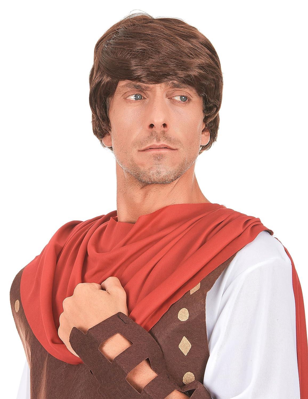 Peluca color castaño de soldado romano para hombre: Amazon ...