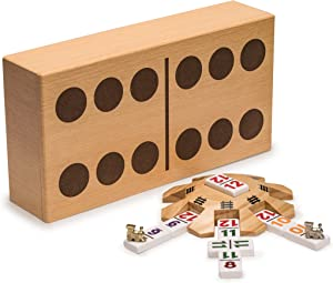Yellow Mountain Imports Mexican Train Complete Set with Double 12 Number Dominoes, Wooden Hub, Die Cast Train Markers, and Scorepad
