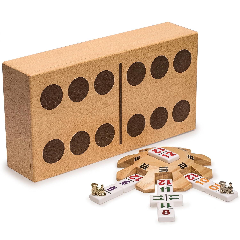 【希望者のみラッピング無料】 Complete Mexican Complete Train Double Dominoes Set with Mexican Double 12 Dominoes Featuring Numerals, Wooden Hub, Train Markers, and Scorepad B076KFYVCN, 堺市:05e03168 --- arianechie.dominiotemporario.com