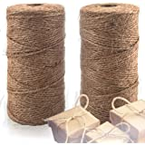 Natural Jute Twine 2 Pack - Crafting Twine String for Craft Projects, Wrapping, Packing, Gardening and More - 656 Feet…