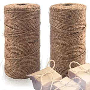 Natural Jute Twine 2 Pack - Best Crafting String for Craft Projects, Gift Wrapping, Packing, Gardening and More - 656 Feet of 3ply Jute to Use Around The House and Garden.