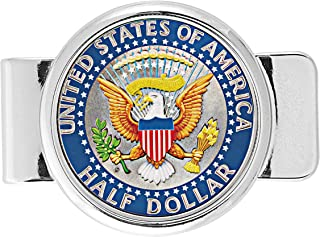 product image for Money Clip Presidential Seal Half Dollar Coin in Color | Brilliant Colorized Genuine JFK Half Dollar | Holds Currency, Credit and Business Cards |Certificate of Authenticity – American Coin Treasures