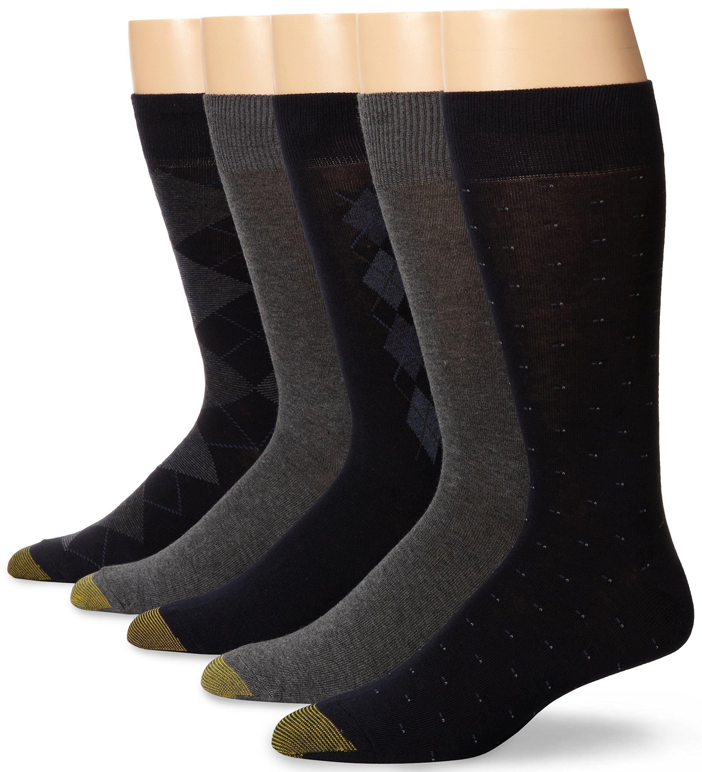 Gold Toe Men's Argyle Assorted Crew 5 Pack, Navy/Light Grey, Sock Size: 10-13/Shoe Size:9-11