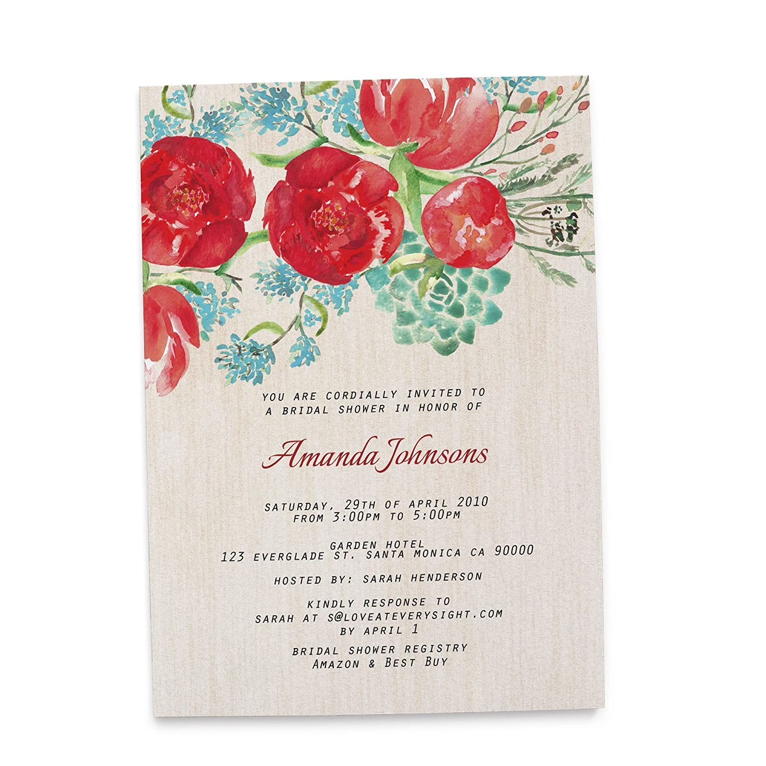 Amazon.com: Bridal Shower Party Invitations, Personalized and ...
