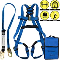 Spidergard SPKIT01 Single D-Ring Full Body Fall Protection Safety Harness Bundle with 6ft Shock Absorber Snap Hook Lanyard (Blue, L-XL)