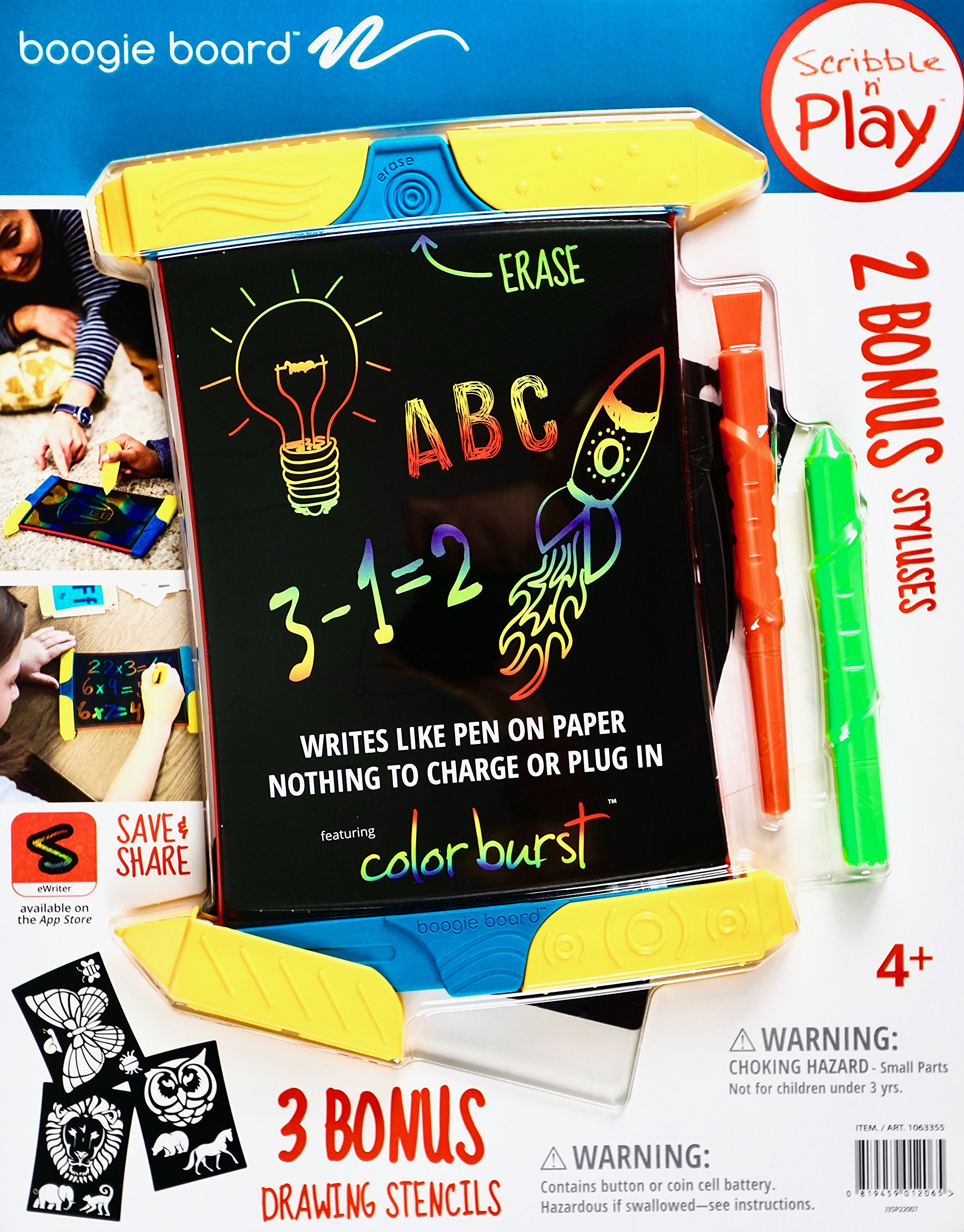Boogie Board Scribble N' Play ColorBurst with 4 Writing Tools and 3 Drawing Stencils
