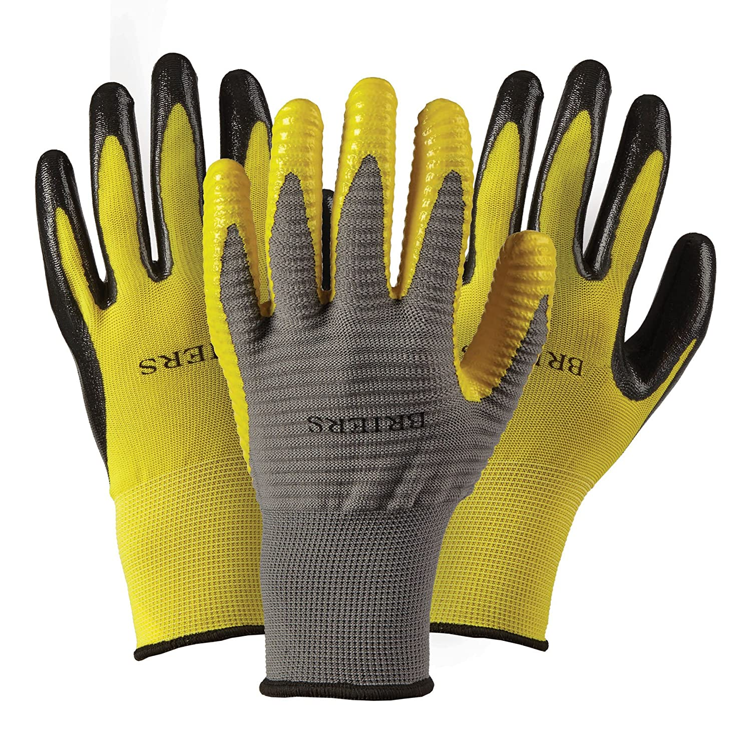 Briers Mens Triple Ribbed Gloves, Grey/Yellow/Black, Large Briers Ltd B6180