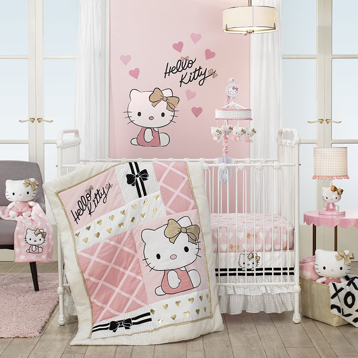 Pink//White Lambs /& Ivy Hello Kitty Hearts Blanket