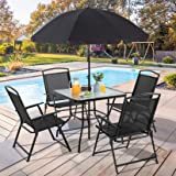 Vongrasig 6 Piece Folding Patio Dining Set, All Weather Small Metal Outdoor Table and Chair Set, Garden Patio Furniture Set w