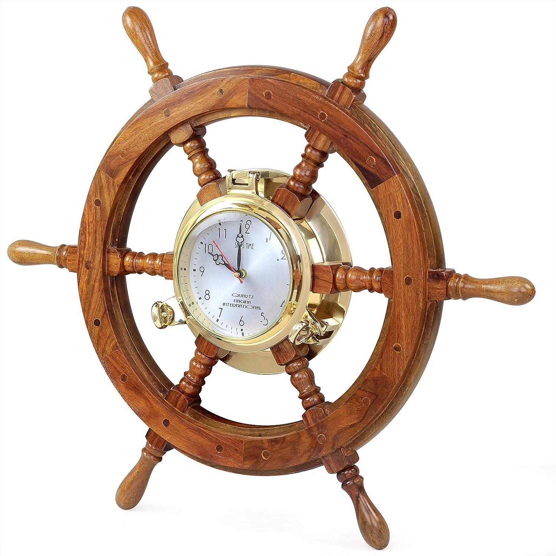 Nautical Solid Wood Captain' Vintage Decor Ship Wheel With Time Clock - Captain Maritime Beach Home Decor Gift - Nagina International (18 Inches)