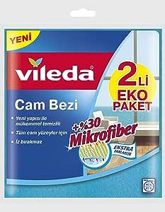 Vileda Cam Bezi, Ekstra Parlaklık, Mavi, 2'li Paket