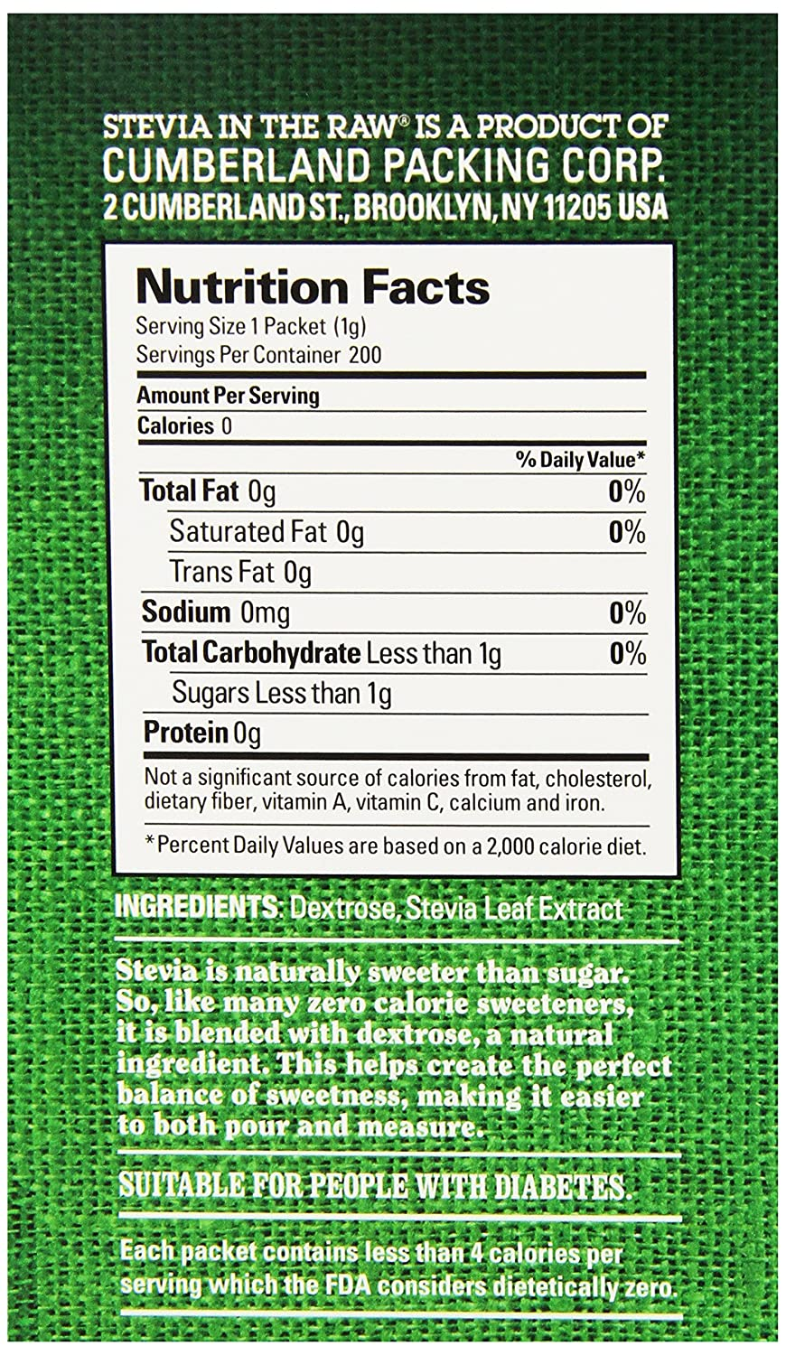 stevia packet nutrition