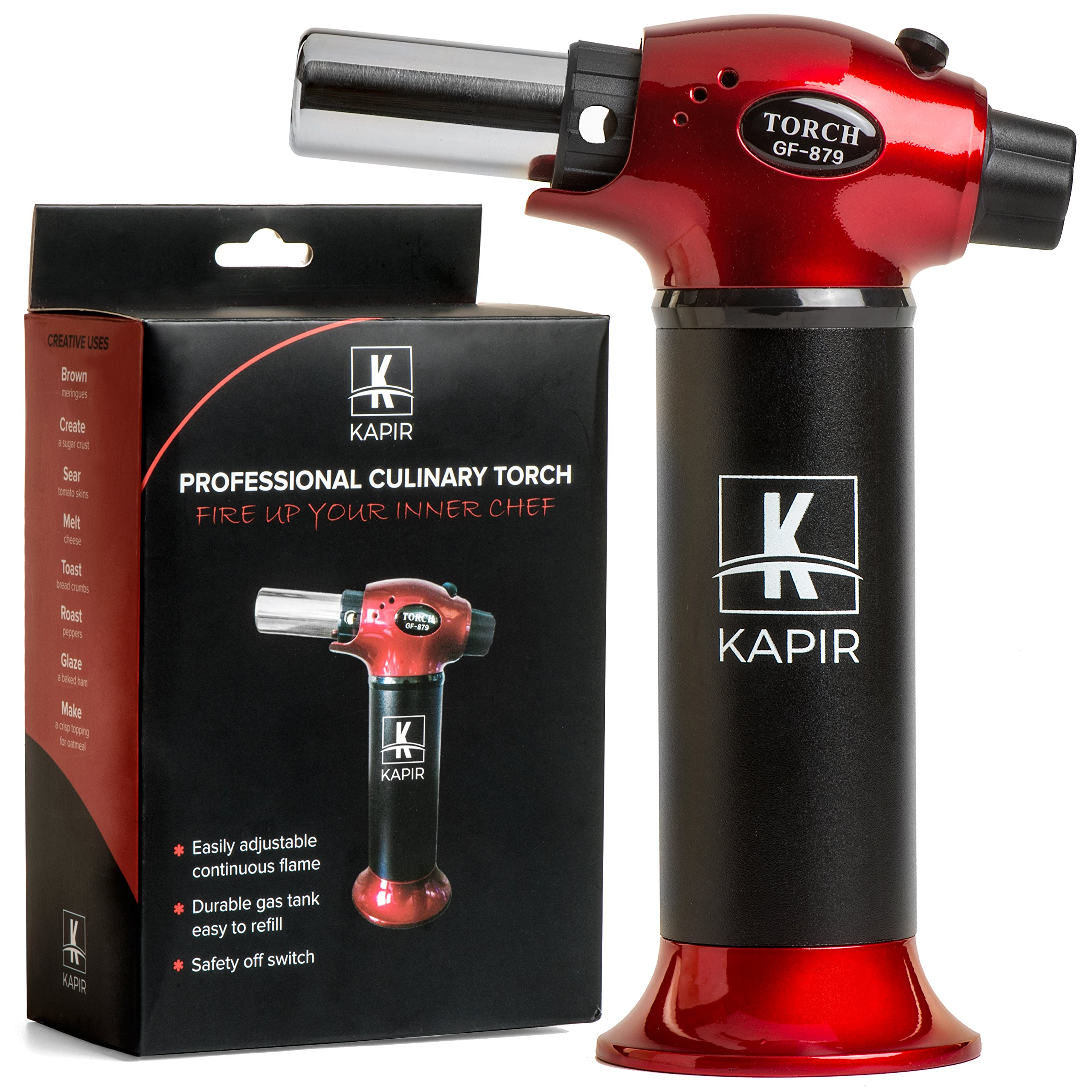 Kitchen Torch for Crème Brulee- Home & Chef Cooking butane Torch. Safety Lock & Adjustable Two Types of Flame. For Pastries, Desserts, Flaming Cocktails, Camping and More. Bonus – 2 Recipe eBooks.