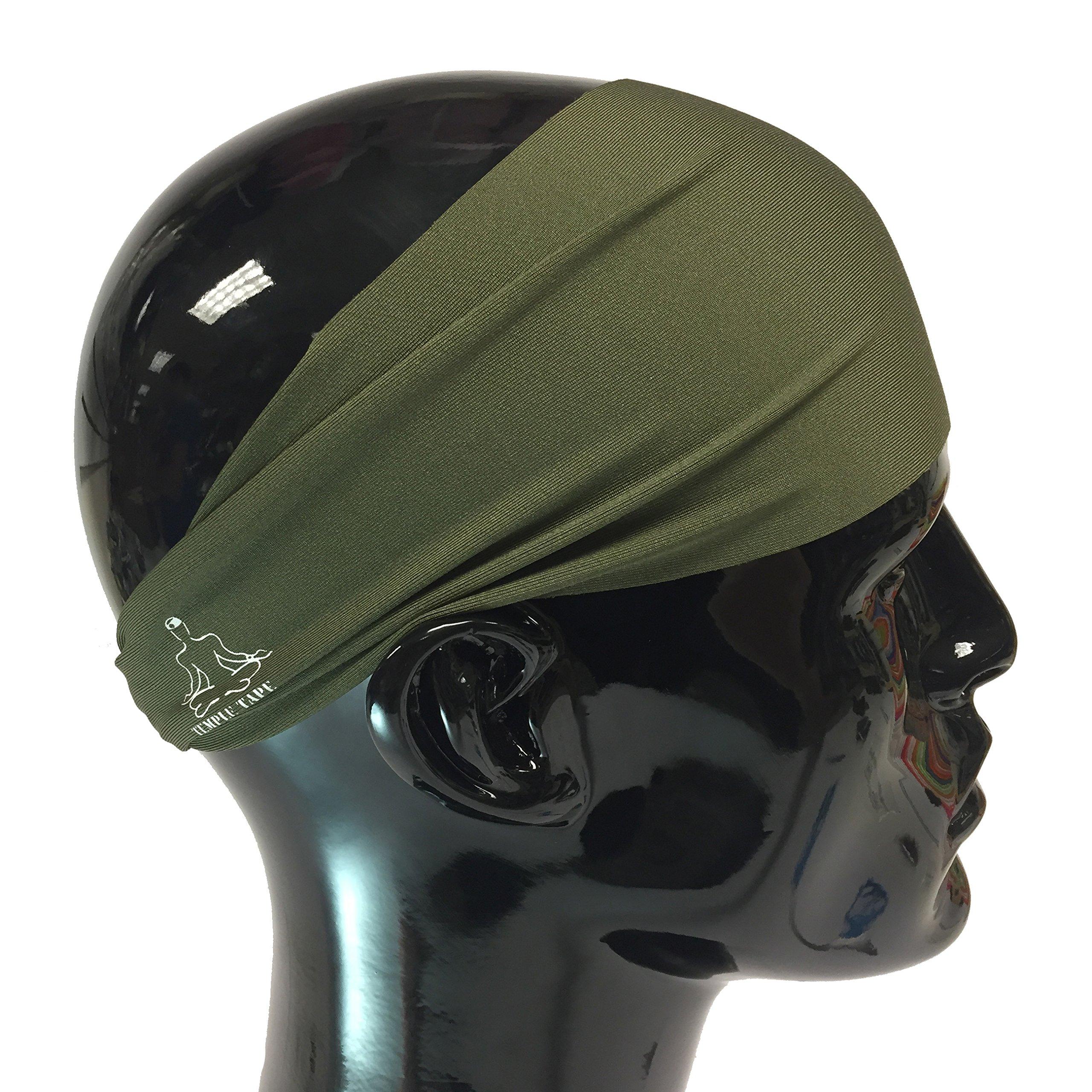 Temple Tape Headbands for Men and Women - Mens Sweatband & Sports Headband Moisture Wicking Workout Sweatbands for Running, Cross Training, Yoga and Bike Helmet Friendly - OD Green
