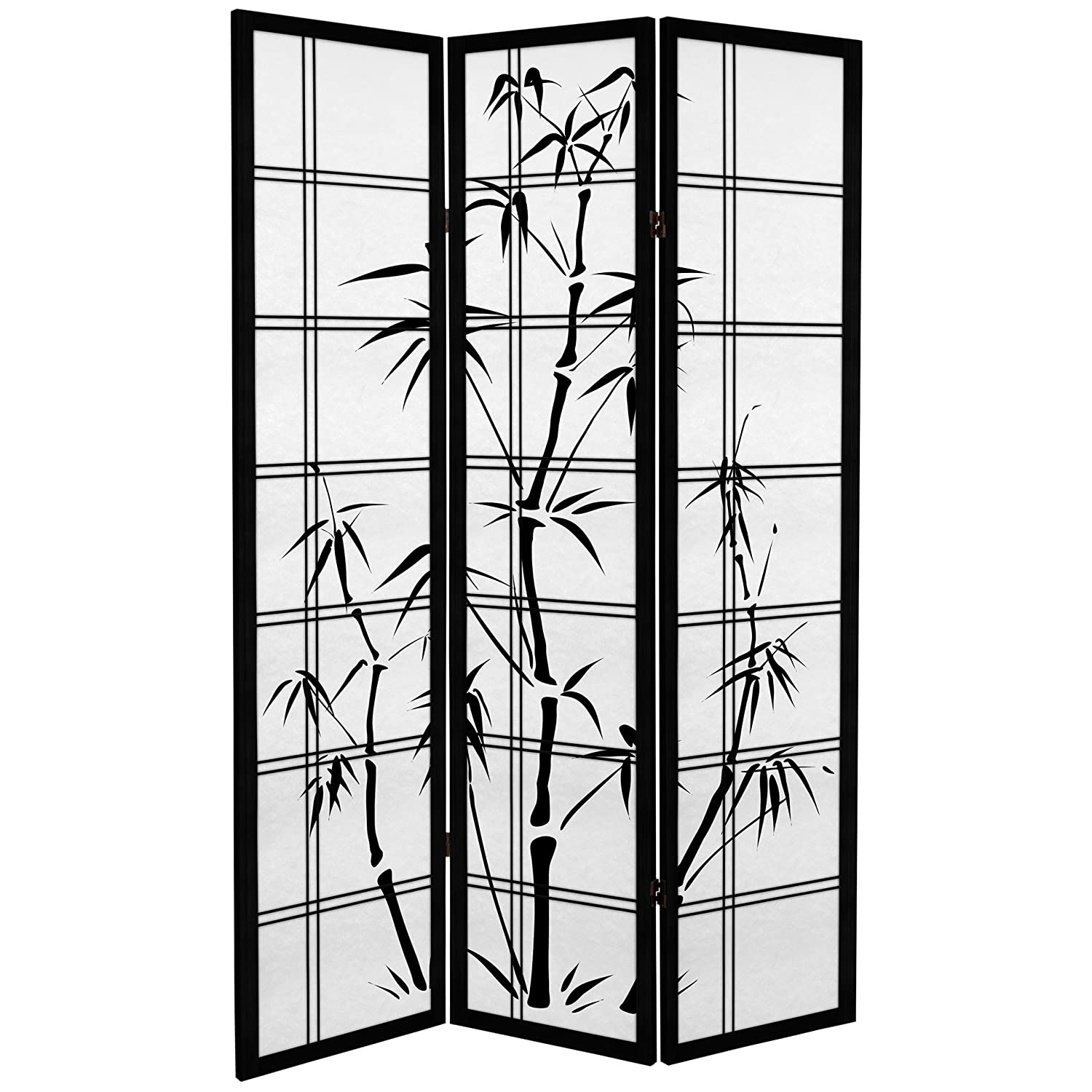 Oriental Furniture 6 ft. Tall Canvas Bamboo Tree Room Divider - Black - 3 Panels