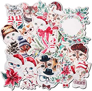 Navy Peony Happy Winter Holiday Kitten Stickers (30 Pack) - Cute, Waterproof, Small | Decorative Cat Decals for Envelopes, Scrapbook, Crafts