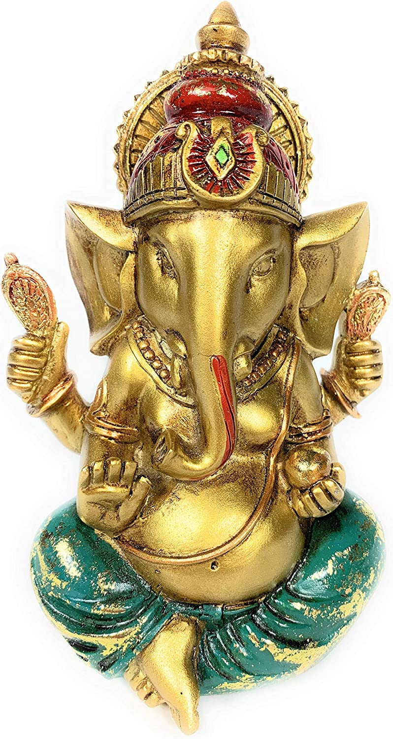 Ganesha Statue Elephant Hindu God of Success Resin Ganesh Idol Hand-Painted in Gold Indian Decor for Wedding and Diwali Decoration (Small)