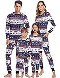 Aibrou Pijamas de Navidad Familia Conjunto Pantalon y Top Pijamas Mujer Hombre Invierno Manga Larga Pijama de Dormir 2 Piezas Niños Niña Ropa de Dormir para Bebés Mamá Papá Romper Homewear