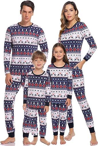 Hawiton Pijamas Navidad para Familias Pijama Mujer Hombre Niños Niña Invierno de Manga Larga Pijama Hombre Navidad Ropa de Dormir para Mamá Papá Niños: Amazon.es: Ropa y accesorios