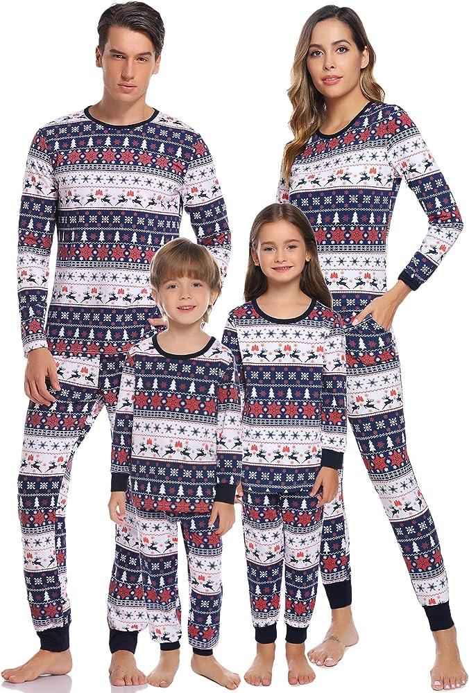 Aibrou Pijamas de Navidad Familia Conjunto Pantalon y Top Pijamas ...