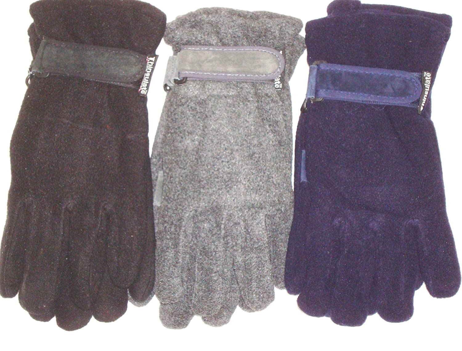 Three Pairs One Size Mongolian Fleece Microfiber Lined Very Warm Gloves
