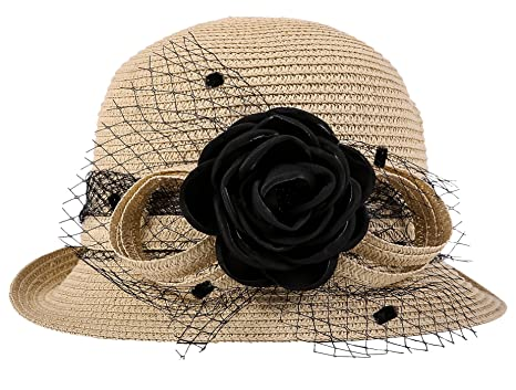 11bffcf44c15e Choomon Women Summer Beach Cap Straw Bowler Hat Sun Protection Cloche  Bucket Hat Beige