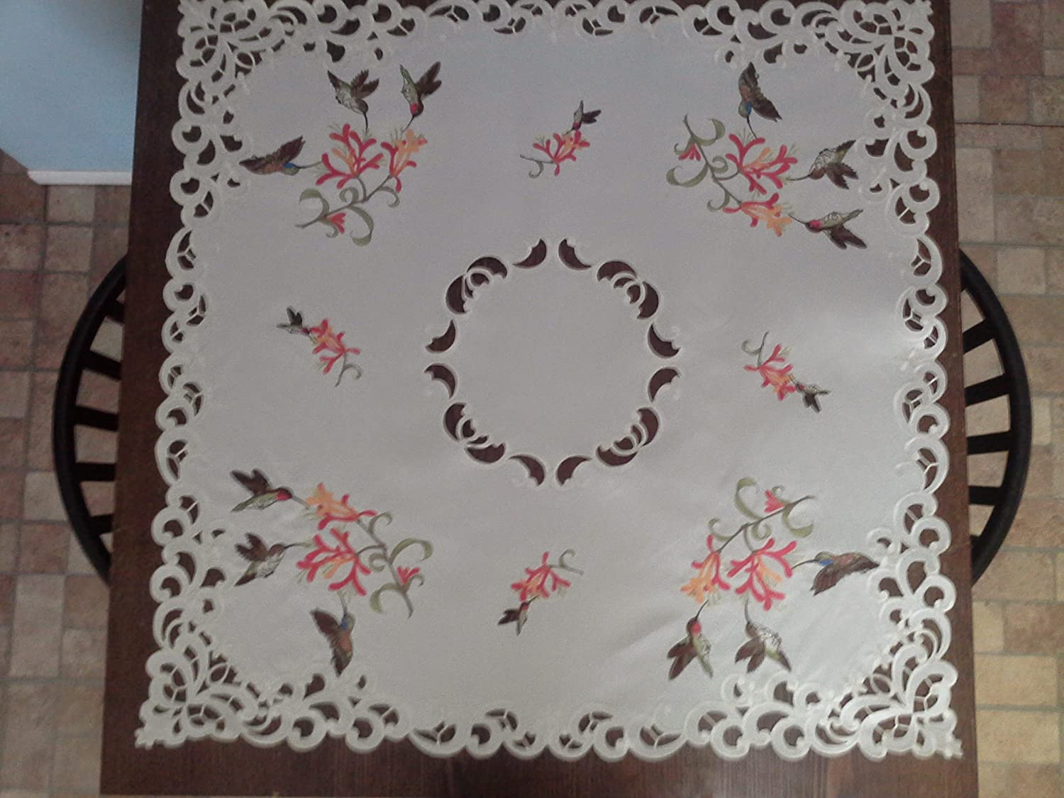 Custom Table Square with Hummingbirds and Flowers and Ivory Material (Various Sizes Available)