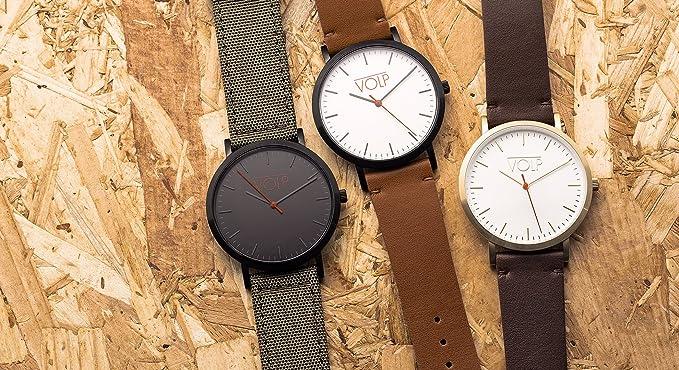 Reloj Vegano Unisex de Pulsera. VOLP Plata/Kaki, de Acero Inoxidable (42 mm). Correas Intercambiables de Nylon Forrado con Piel Vegana (superfibras).