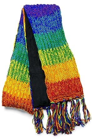 Three Cranes Gallery Mens Wool Scarf Rainbow Stripe At Amazon