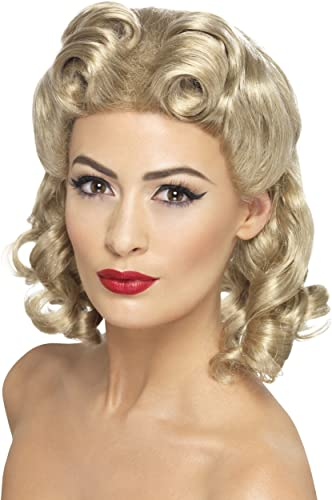 1940s Costumes- WW2, Nurse, Pinup, Rosie the Riveter Smiffys 40s Sweetheart Wig $17.24 AT vintagedancer.com