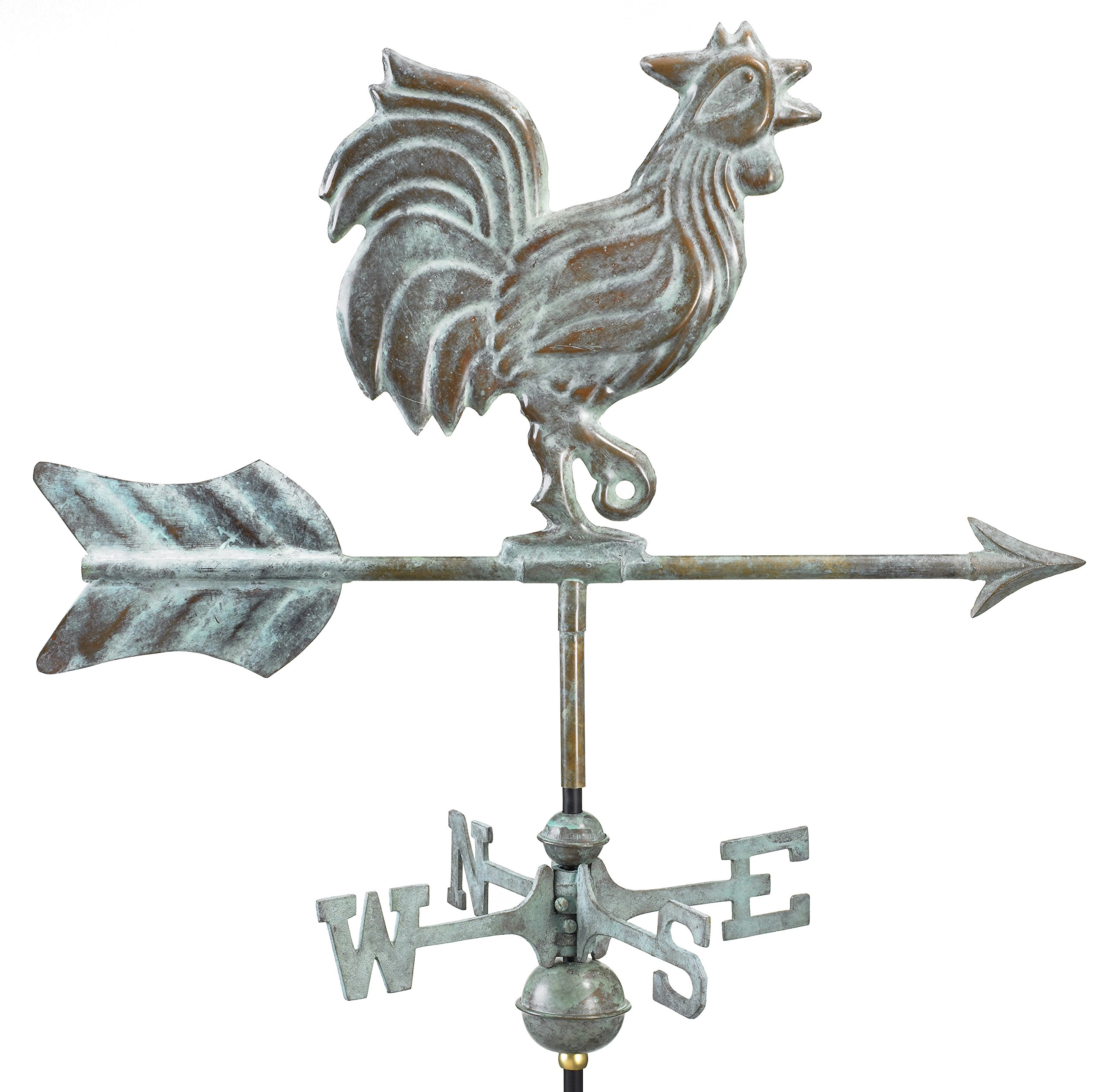 Good Directions Rooster Cottage Weathervane with Roof Mount, Blue Verde Copper by Good Directions