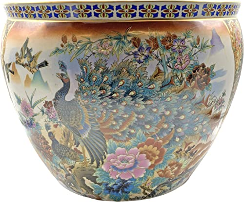 Oriental Furnishings Japanese Satsuma Peacock Vase 18″ W x 15″ H