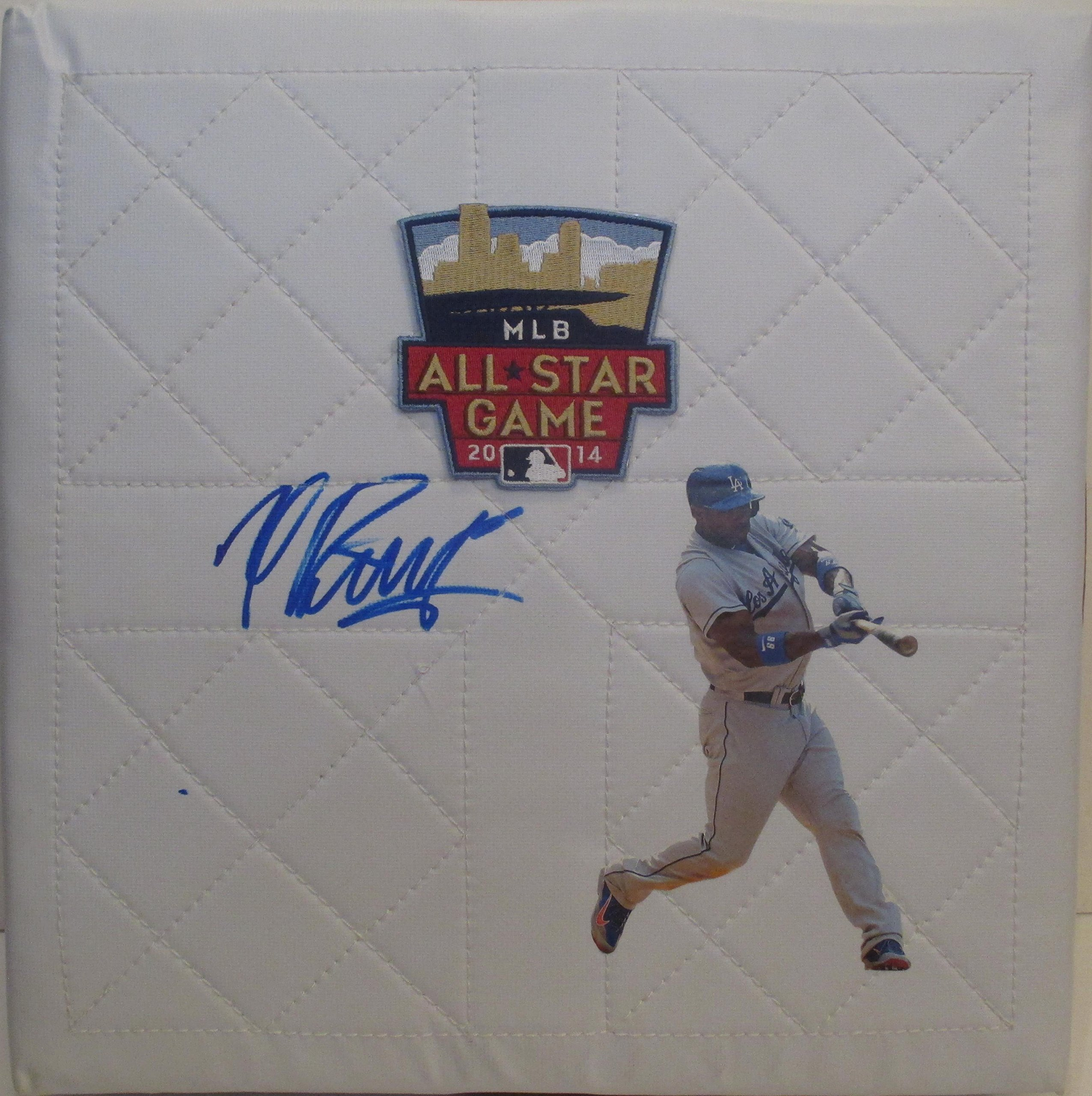 Los Angeles Dodgers Yasiel Puig Autographed Hand Signed 2014 MLB All Star Game Baseball Photo Base with Proof Photo of Signing and COA