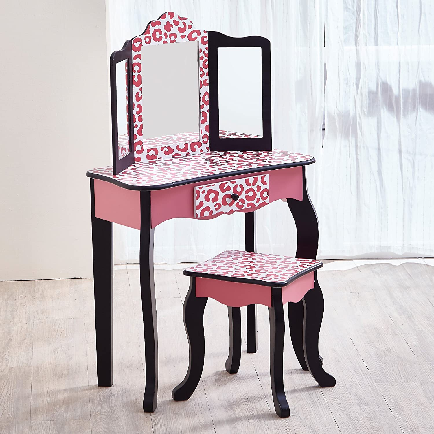 Amazon Com Teamson Kids Pretend Play Kids Vanity Table And Chair Vanity Set With Mirror Makeup Dressing Table With Drawer Fashion Leopard Prints Gisele Play Vanity Set Pink Black Toys Games