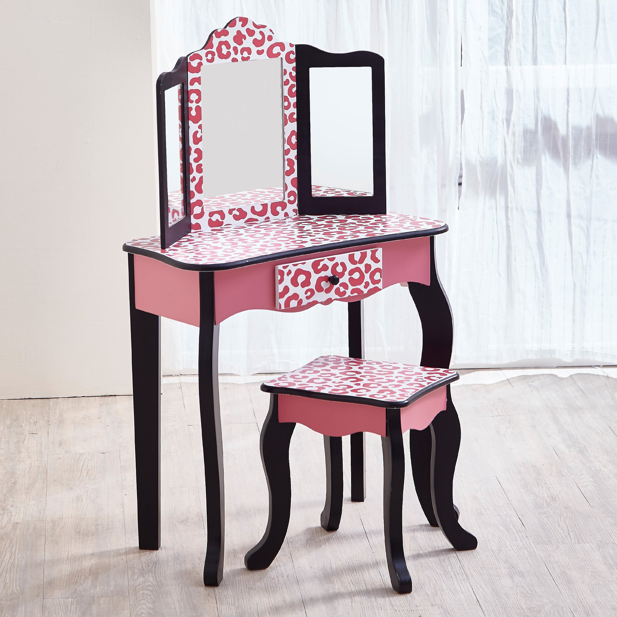 Teamson Kids - Fashion Prints Girls Vanity Table and Stool Set with Mirror - Leopard (Pink/ Black) by Teamson Kids