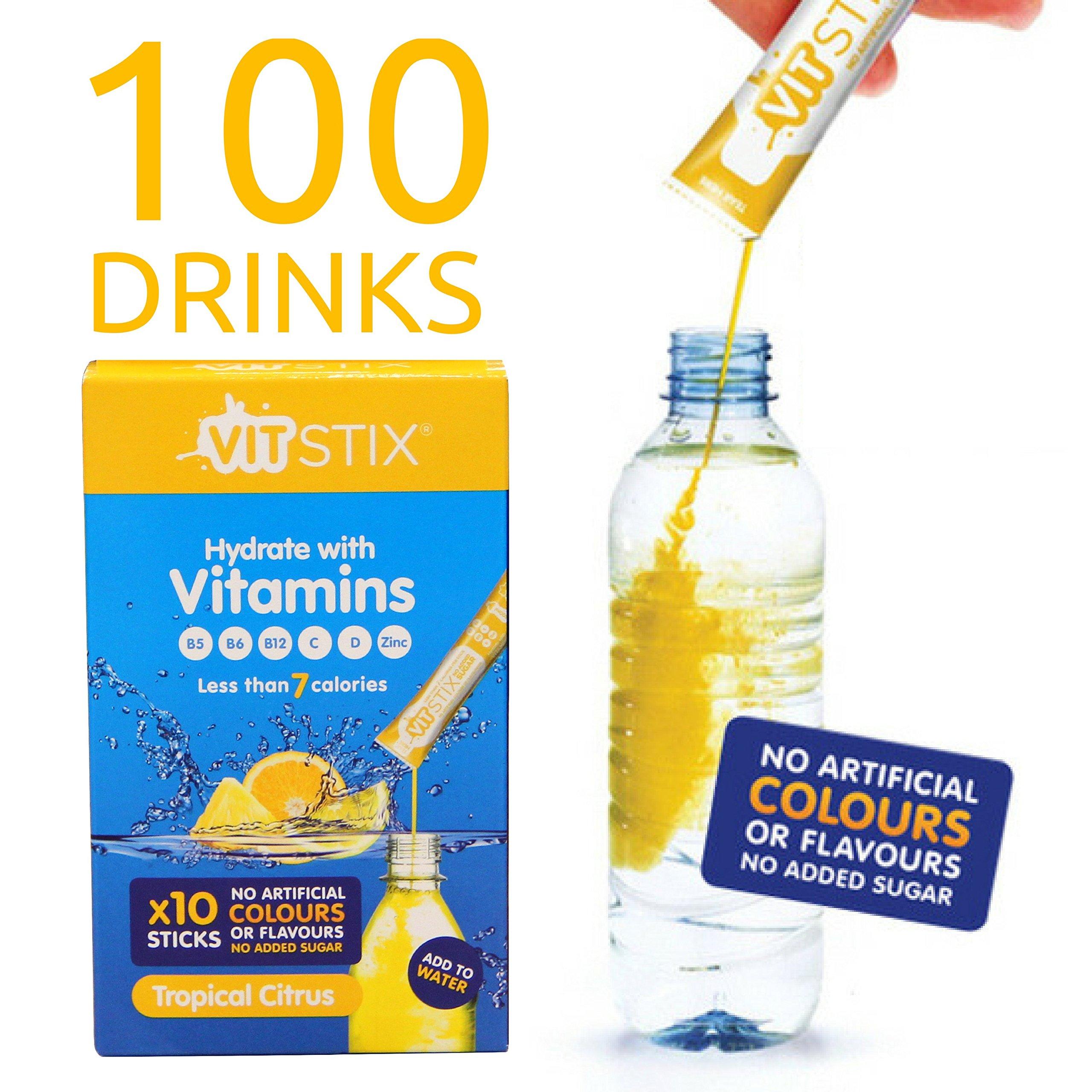 VIT Stix | Liquid Vitamin Drink Dietary Supplement - Multivitamin Water Enhancer - 100 Drinks | 3 Month Supply - B Vitamins | Vitamin C | Vitamin D | Zinc - Health Drink - Add to Water