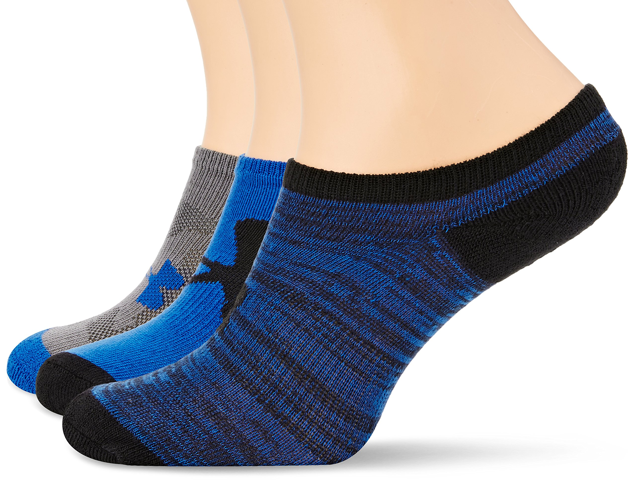 Under Armour Unisex UA Next No Show 3-Pack (Big Kid) Ultra Blue/Assorted Sock