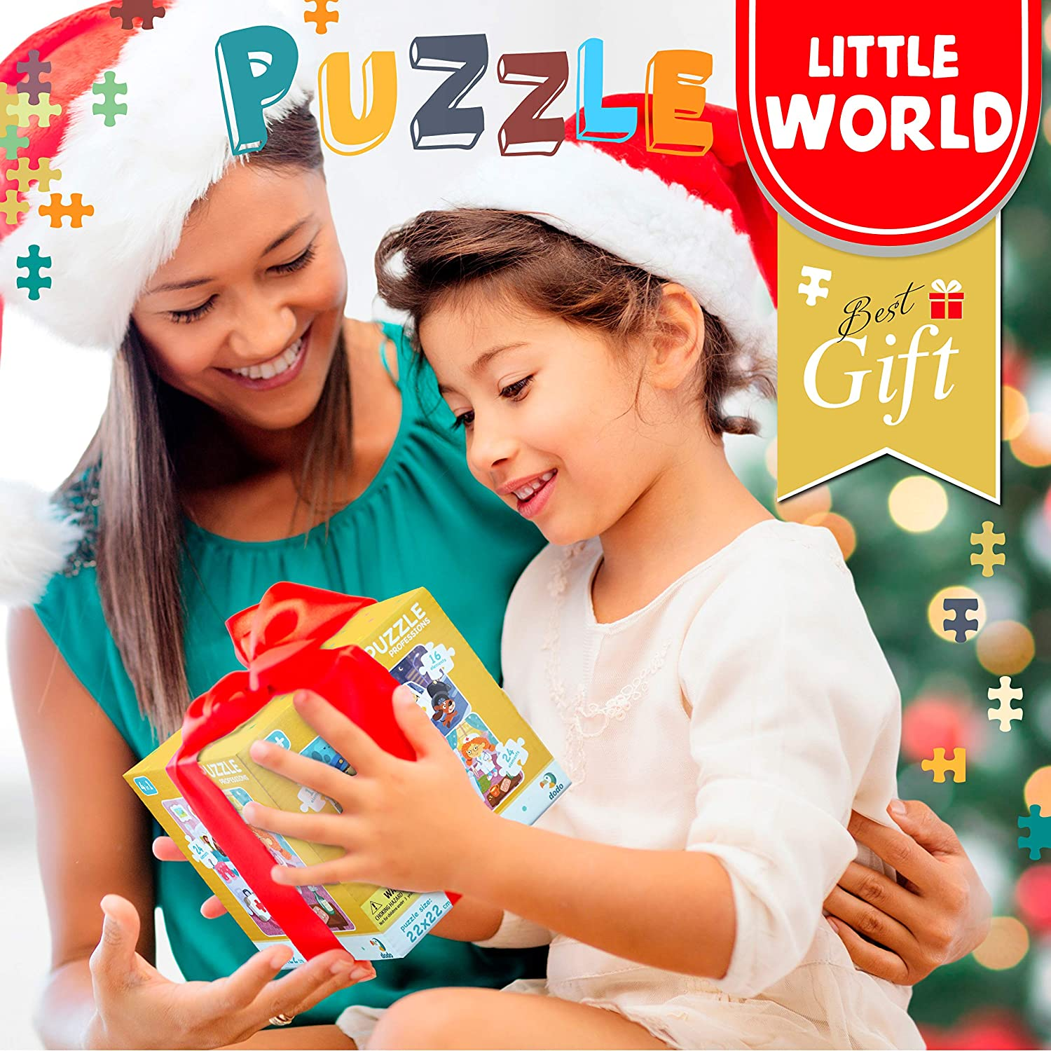 Educational Toddler Puzzles Cardboard Set of Floor Puzzles for Kids with 4 Increasing Difficulty Levels Beginner Puzzles for Children 3+ Little World 4 in 1 Jigsaw Puzzles for Kids Ages 3-5