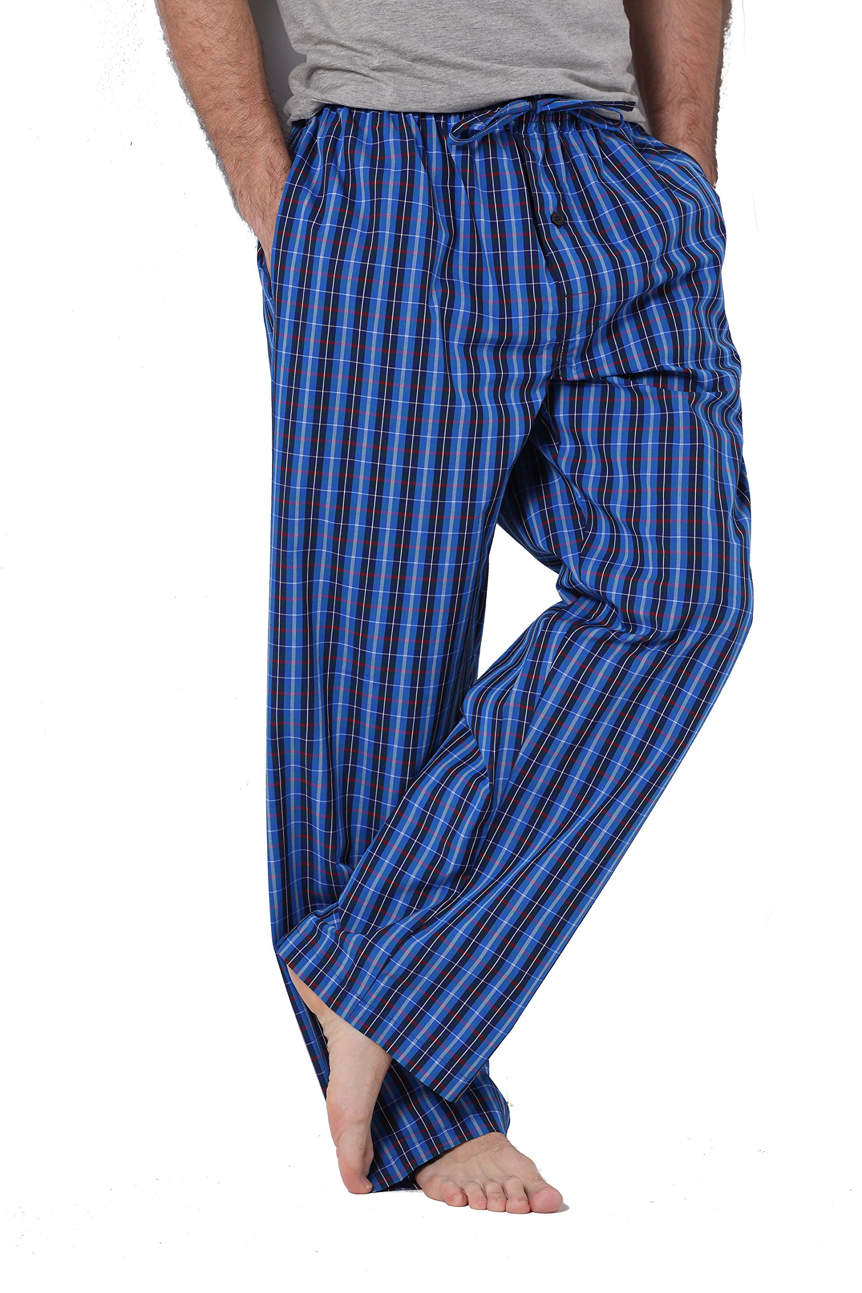 CYZ Men's 100% Cotton Poplin Pajama Lounge Sleep Pant-P17004-M